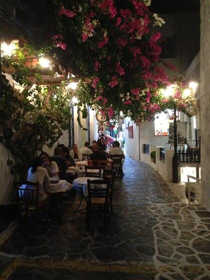 Greek taverna Laconia people eating outdoors